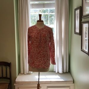 Loft pink and white popover blouse